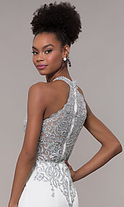 Image of JVNX by Jovani long embroidered-bodice formal dress. Style: JO-JVNX1259 Detail Image 7