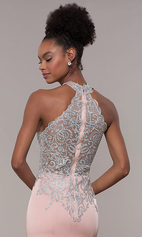 Image of JVNX by Jovani long embroidered-bodice formal dress. Style: JO-JVNX1259 Detail Image 2