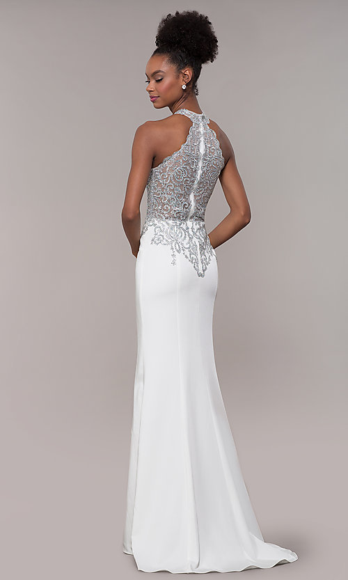 Image of JVNX by Jovani long embroidered-bodice formal dress. Style: JO-JVNX1259 Detail Image 5