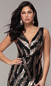 Image of sequin-mesh long formal prom dress with side slit. Style: MCR-7799 Detail Image 1
