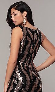 Image of sequin-mesh long formal prom dress with side slit. Style: MCR-7799 Detail Image 2