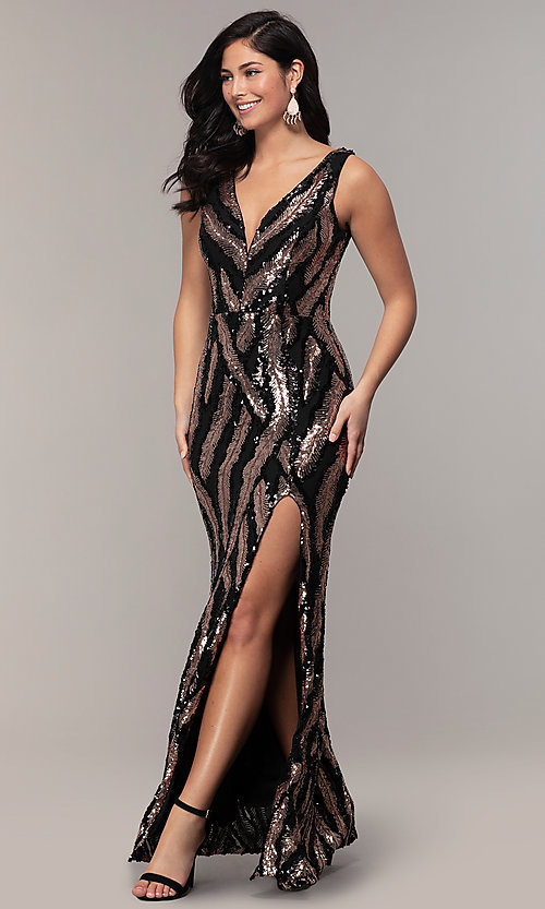 Image of sequin-mesh long formal prom dress with side slit. Style: MCR-7799 Front Image