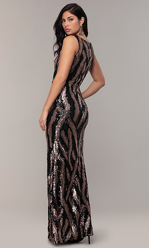 Image of sequin-mesh long formal prom dress with side slit. Style: MCR-7799 Back Image