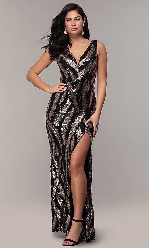 Image of sequin-mesh long formal prom dress with side slit. Style: MCR-7799 Detail Image 3