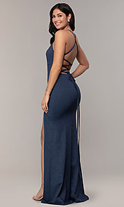 Image of v-neck long glitter-knit formal dress by Simply. Style: MCR-SD-2832 Back Image