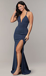 Image of v-neck long glitter-knit formal dress by Simply. Style: MCR-SD-2832 Detail Image 3