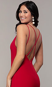 Image of double-strap v-neck jersey formal dress by Simply. Style: MCR-SD-2803 Detail Image 2