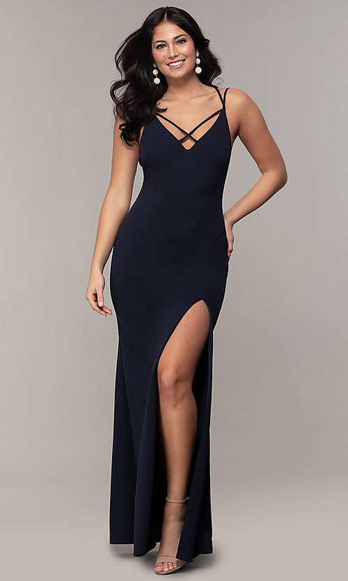 Image of double-strap v-neck jersey formal dress by Simply. Style: MCR-SD-2803 Detail Image 4
