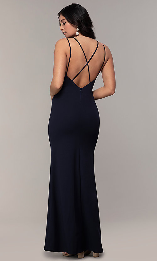 Image of double-strap v-neck jersey formal dress by Simply. Style: MCR-SD-2803 Detail Image 5