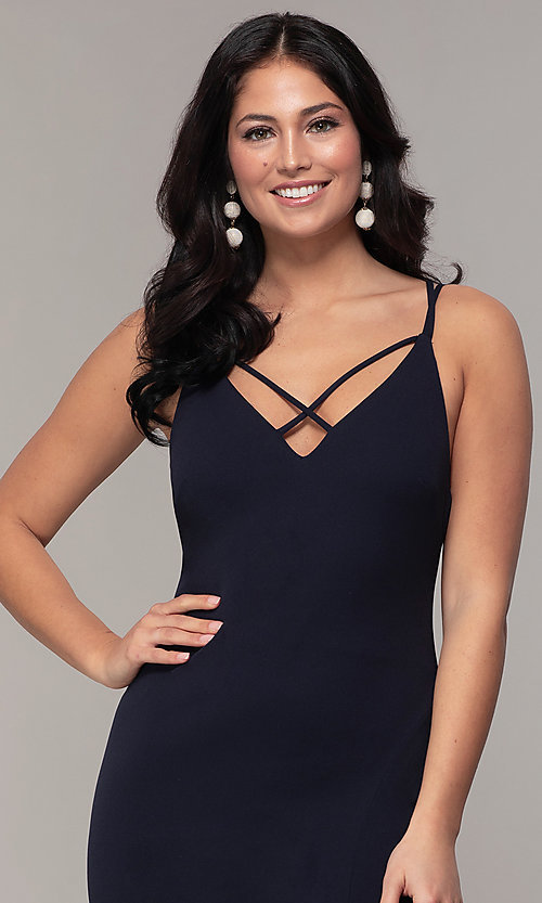 Image of double-strap v-neck jersey formal dress by Simply. Style: MCR-SD-2803 Detail Image 6