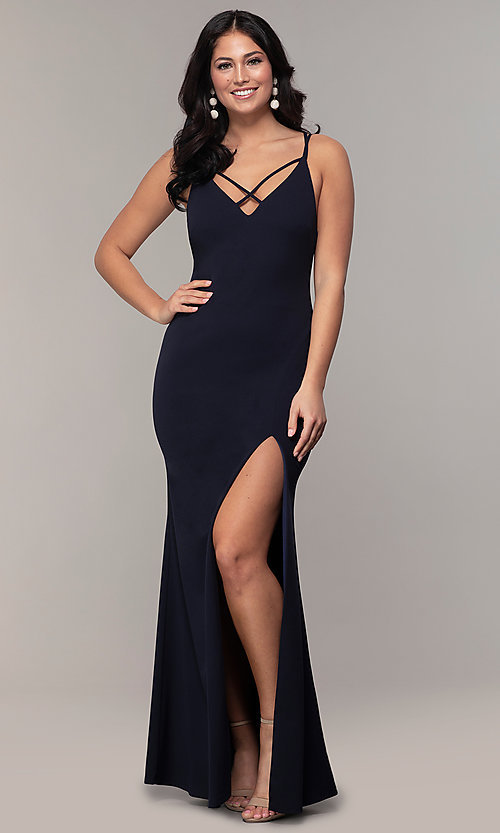 Image of double-strap v-neck jersey formal dress by Simply. Style: MCR-SD-2803 Detail Image 8