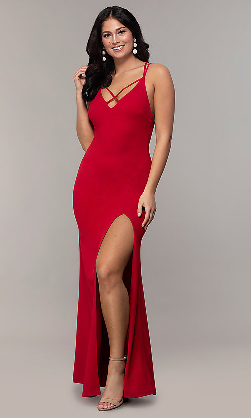 Image of double-strap v-neck jersey formal dress by Simply. Style: MCR-SD-2803 Front Image