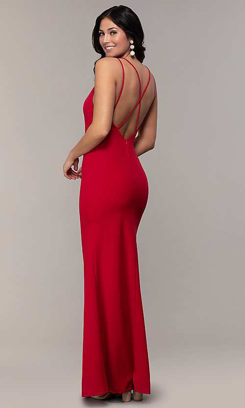 Image of double-strap v-neck jersey formal dress by Simply. Style: MCR-SD-2803 Back Image