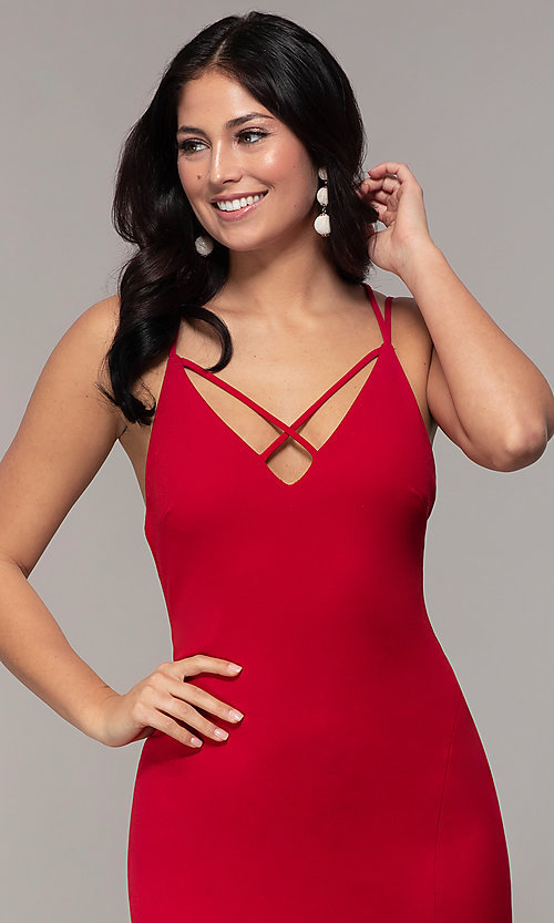 Image of double-strap v-neck jersey formal dress by Simply. Style: MCR-SD-2803 Detail Image 1