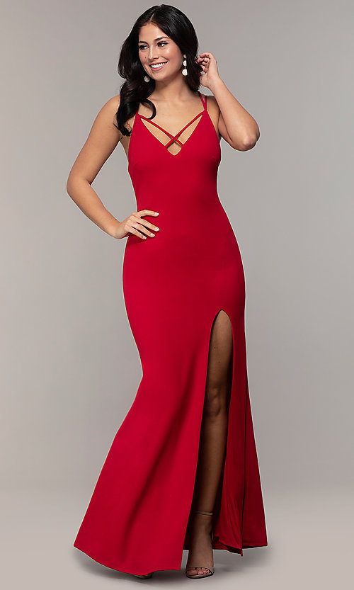 Image of double-strap v-neck jersey formal dress by Simply. Style: MCR-SD-2803 Detail Image 3