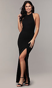 Image of backless high-neck halter long prom dress by Simply. Style: MCR-SD-3077 Back Image