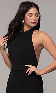 Image of backless high-neck halter long prom dress by Simply. Style: MCR-SD-3077 Detail Image 1