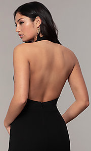 Image of backless high-neck halter long prom dress by Simply. Style: MCR-SD-3077 Detail Image 2