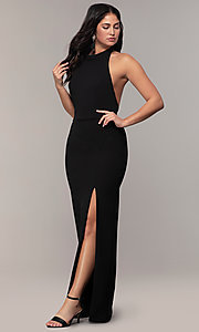 Image of backless high-neck halter long prom dress by Simply. Style: MCR-SD-3077 Detail Image 3