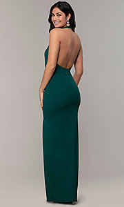 Image of backless high-neck halter long prom dress by Simply. Style: MCR-SD-3077 Detail Image 5