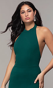 Image of backless high-neck halter long prom dress by Simply. Style: MCR-SD-3077 Detail Image 6