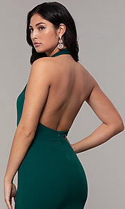Image of backless high-neck halter long prom dress by Simply. Style: MCR-SD-3077 Detail Image 7