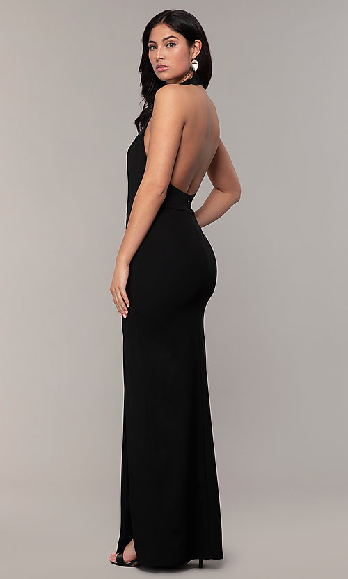 Image of backless high-neck halter long prom dress by Simply. Style: MCR-SD-3077 Front Image