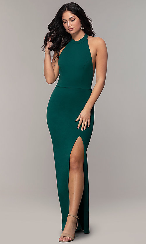 Image of backless high-neck halter long prom dress by Simply. Style: MCR-SD-3077 Detail Image 4