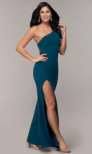 Long Teal Blue One-Shoulder Formal Dress by Simply