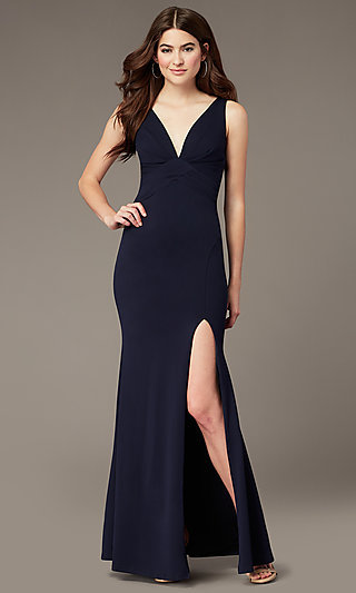 Long Empire-Waist Side-Slit Formal Dress by Simply