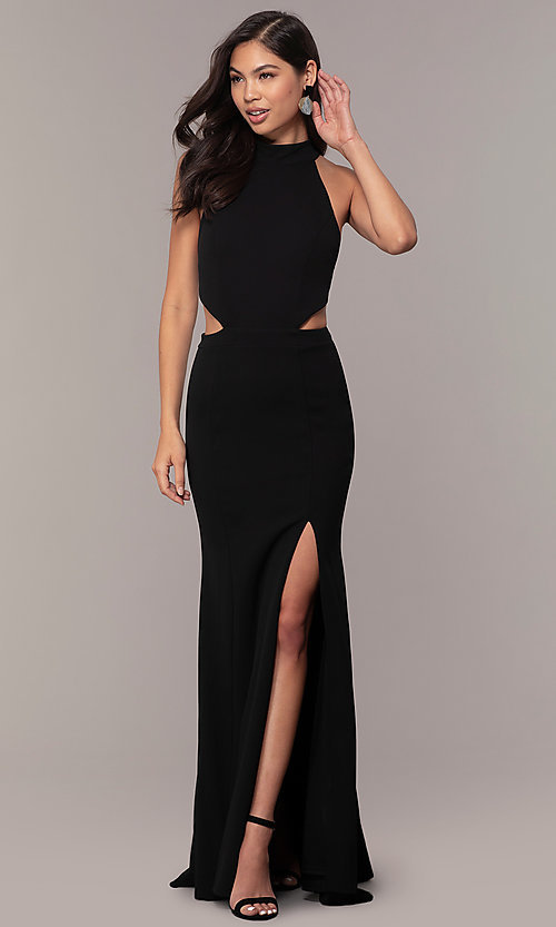 Image of black racerback high-neck long prom dress by Simply. Style: MCR-SD-3079 Front Image