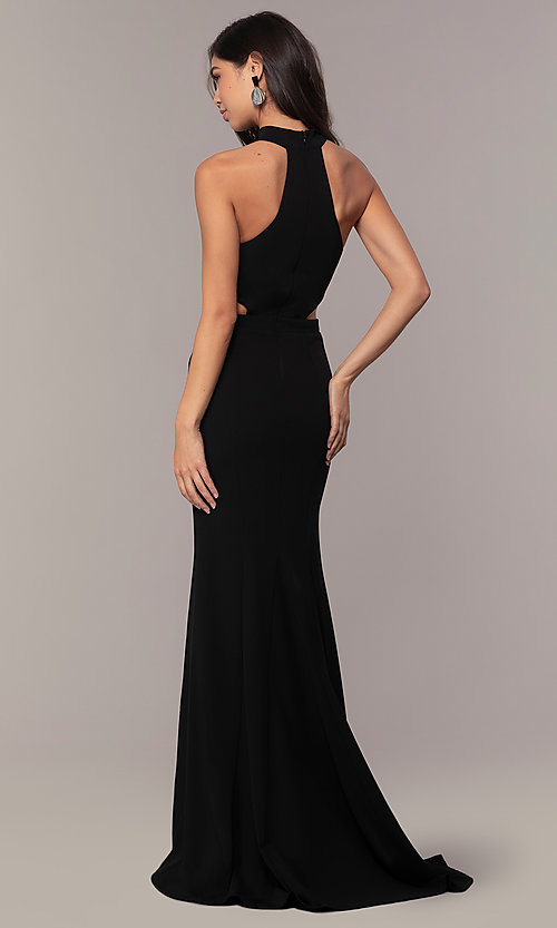 Image of black racerback high-neck long prom dress by Simply. Style: MCR-SD-3079 Back Image