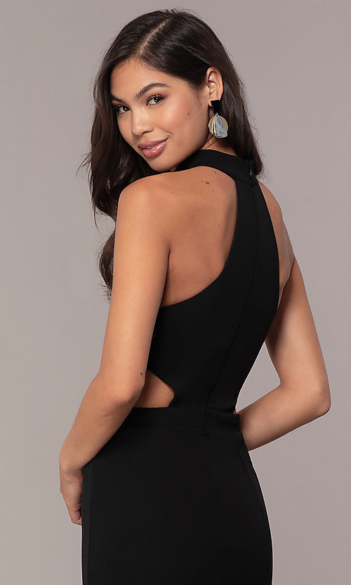 Image of black racerback high-neck long prom dress by Simply. Style: MCR-SD-3079 Detail Image 2