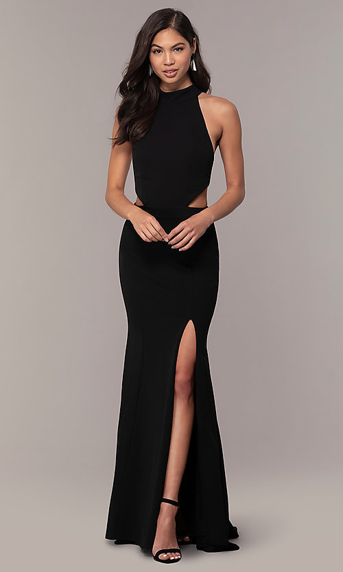 Image of black racerback high-neck long prom dress by Simply. Style: MCR-SD-3079 Detail Image 3