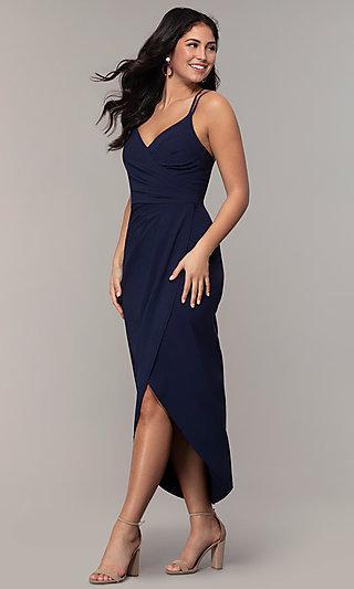Wrap-Style Midi-Length Wedding-Guest Dress by Simply