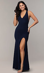 Image of open-back long v-neck navy blue prom dress by Simply. Style: MCR-SD-3068 Back Image