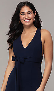 Image of open-back long v-neck navy blue prom dress by Simply. Style: MCR-SD-3068 Detail Image 1