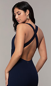 Image of open-back long v-neck navy blue prom dress by Simply. Style: MCR-SD-3068 Detail Image 2