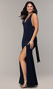 Image of open-back long v-neck navy blue prom dress by Simply. Style: MCR-SD-3068 Detail Image 3