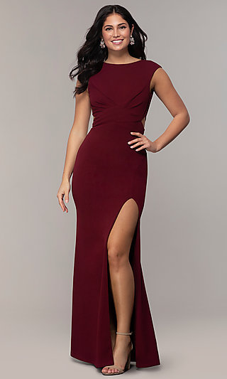 Long Bateau-Neck Cut-Out Formal Dress by Simply