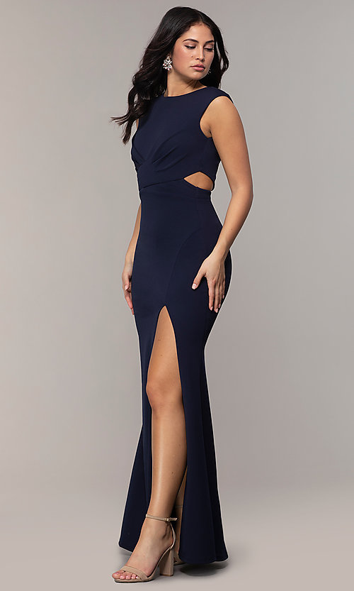 Image of long bateau-neck cut-out formal dress by Simply. Style: MCR-SD-3073 Detail Image 3