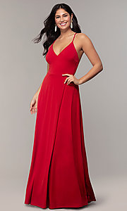 Image of faux-wrap open-back long formal dress by Simply. Style: MCR-SD-3069 Front Image