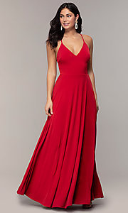 Image of faux-wrap open-back long formal dress by Simply. Style: MCR-SD-3069 Detail Image 3
