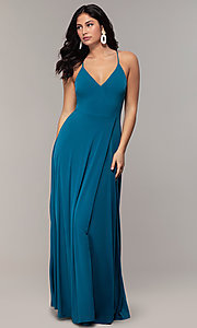 Image of faux-wrap open-back long formal dress by Simply. Style: MCR-SD-3069 Detail Image 4