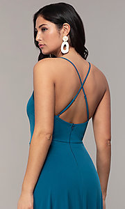 Image of faux-wrap open-back long formal dress by Simply. Style: MCR-SD-3069 Detail Image 7