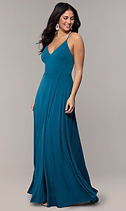 Image of faux-wrap open-back long formal dress by Simply. Style: MCR-SD-3069 Detail Image 8