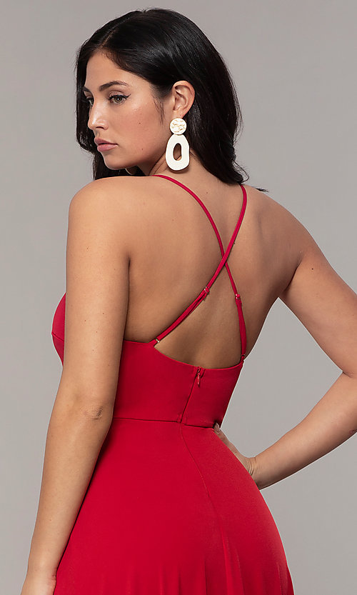 Image of faux-wrap open-back long formal dress by Simply. Style: MCR-SD-3069 Detail Image 2