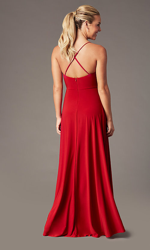 Image of faux-wrap open-back long formal dress by Simply. Style: MCR-SD-3069 Back Image
