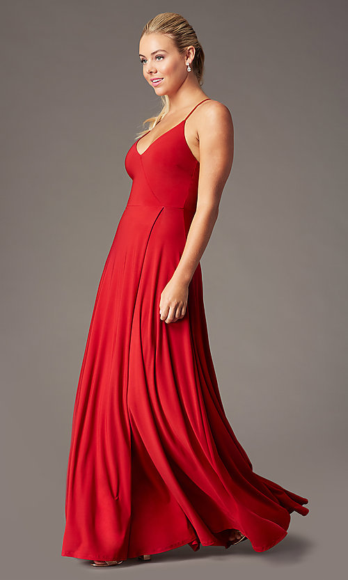 Image of faux-wrap open-back long formal dress by Simply. Style: MCR-SD-3069 Detail Image 1