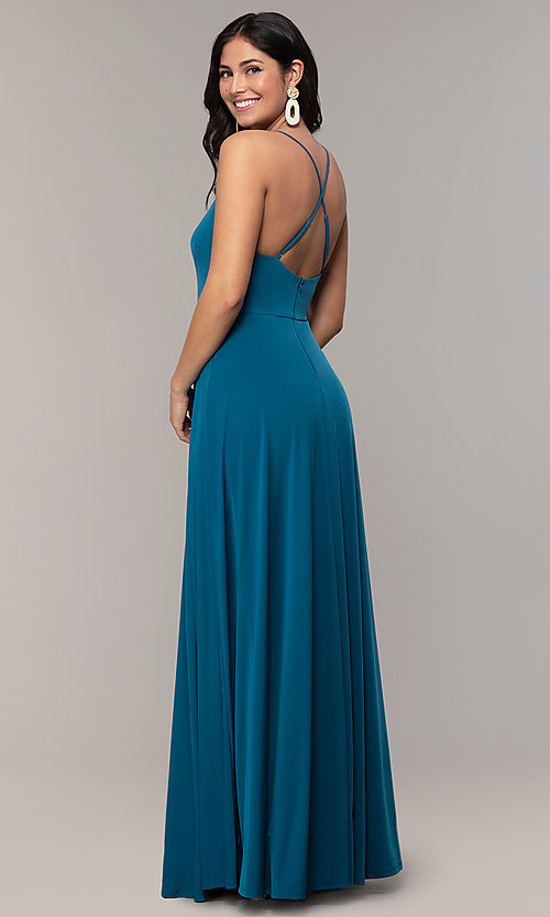 Image of faux-wrap open-back long formal dress by Simply. Style: MCR-SD-3069 Detail Image 5